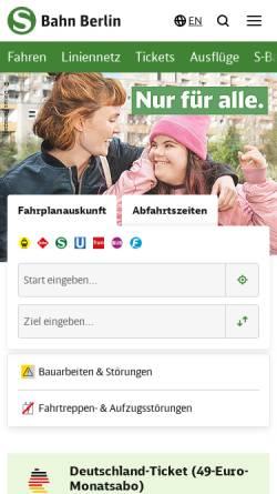 Vorschau der mobilen Webseite www.s-bahn-berlin.de, S-Bahn Berlin GmbH