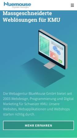 Vorschau der mobilen Webseite www.bluemouse.ch, BlueMouse GmbH