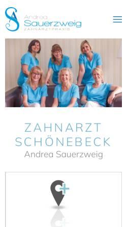 Vorschau der mobilen Webseite www.sauerzweig.com, Dr. Volker Sauerzweig und Zahnärtzin Andrea Sauerzweig