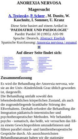 Vorschau der mobilen Webseite www.trojovsky.net, Anorexia Nervosa / Magersucht