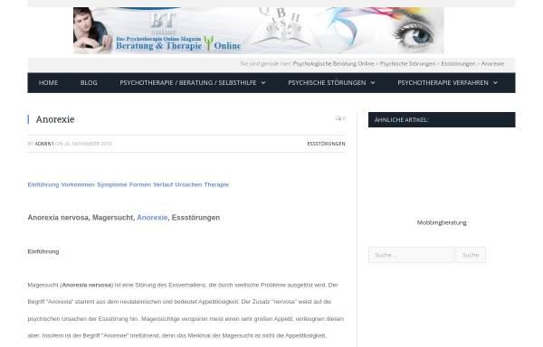 Vorschau von www.btonline.de, BTonline: Beratung und Therapie Online