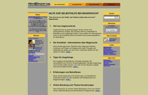 Vorschau von www.magersucht.de, Selbsthilfe bei Magersucht