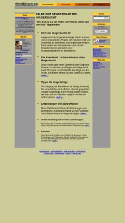 Vorschau der mobilen Webseite www.magersucht.de, Selbsthilfe bei Magersucht