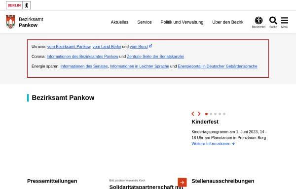 Vorschau von www.berlin.de, Bezirksamt Pankow von Berlin