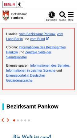 Vorschau der mobilen Webseite www.berlin.de, Bezirksamt Pankow von Berlin