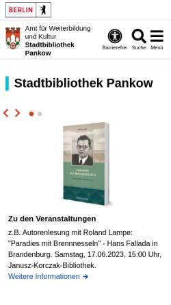 Vorschau der mobilen Webseite www.berlin.de, Stadtbibliotheken im Bezirk Pankow