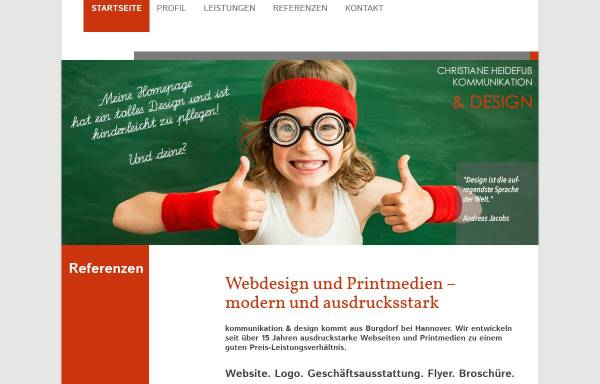 Vorschau von www.heidefuss.de, Christiane Heidefuss - kommunikation & design