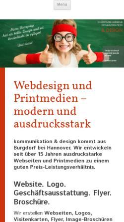 Vorschau der mobilen Webseite www.heidefuss.de, Christiane Heidefuss - kommunikation & design