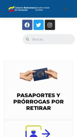 Vorschau der mobilen Webseite www.botschaft-venezuela.de, Venezuela