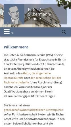 Vorschau der mobilen Webseite abendgymnasium.de, Peter-A.-Silbermann-Schule