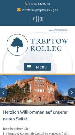 Vorschau der mobilen Webseite treptow-kolleg.de, Treptow-Kolleg Berlin