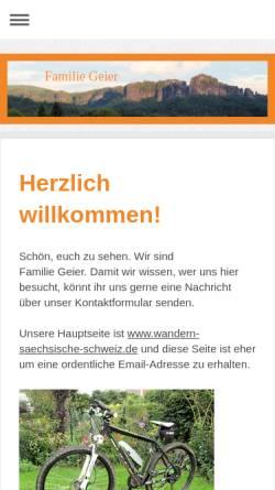 Vorschau der mobilen Webseite www.geier-familie.de, Wandern in der Sächsischen Schweiz