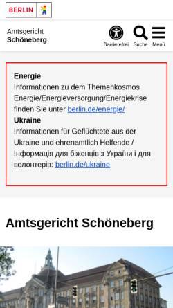Vorschau der mobilen Webseite www.berlin.de, Amtsgericht Schöneberg