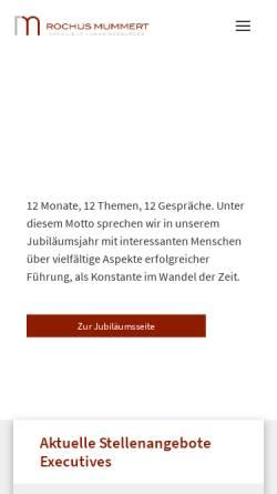 Vorschau der mobilen Webseite www.drmummert.de, Dr. Rochus Mummert & Partner Gesellschaft für Unternehmensberatung mbH