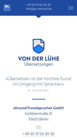 Vorschau der mobilen Webseite www.go-allround.de, Allround Fremdsprachen GmbH
