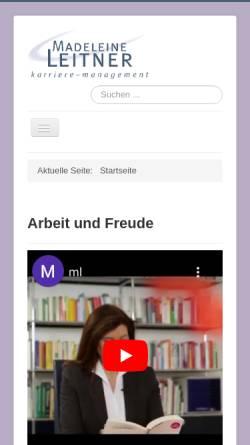 Vorschau der mobilen Webseite www.madeleine-leitner.de, Karriere-Management - Madeleine Leitner