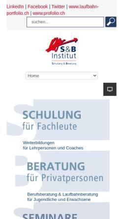 Vorschau der mobilen Webseite www.s-b-institut.ch, S&B Institut für Berufs- und Lebensgestaltung