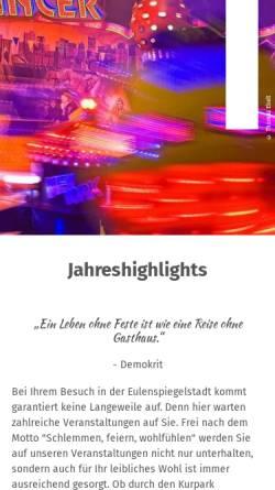 Vorschau der mobilen Webseite www.eulenspiegel-festspiele.de, Eulenspiegel-Festspiele in Mölln
