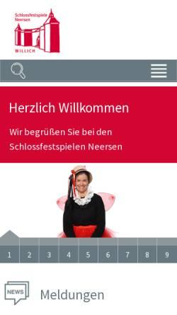 Vorschau der mobilen Webseite www.festspiele-neersen.de, Festspiele Schloss Neersen