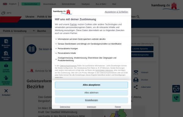 Vorschau von www.hamburg.de, Bezirkskarte