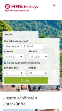 Vorschau der mobilen Webseite freiburg.fit-tourist.de, Hotels, Pensionen und Ferienwohnungen