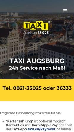 Vorschau der mobilen Webseite taxi-augsburg.de, Taxi Augsburg eG