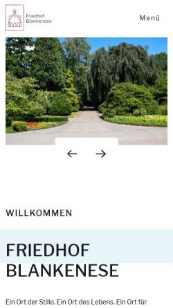 Vorschau der mobilen Webseite www.friedhof-blankenese.de, Friedhof Blankenese