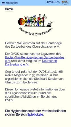 Vorschau der mobilen Webseite www.dvos.de, Dartverband Oberschwaben