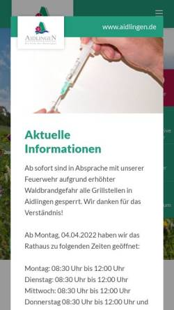 Vorschau der mobilen Webseite www.aidlingen.de, Aidlingen