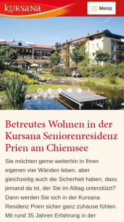 Vorschau der mobilen Webseite www.kursana.de, Chiemsee-Residenz