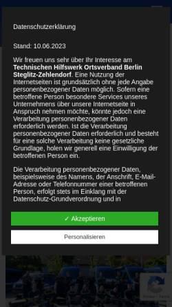 Vorschau der mobilen Webseite www.thw-steglitz.de, Technischen Hilfswerk