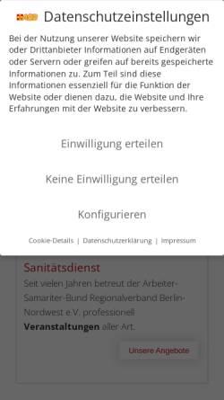 Vorschau der mobilen Webseite www.asb-berlin-nordwest.de, ASB Regionalverband Berlin-Nordwest e.V.