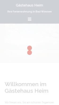 Vorschau der mobilen Webseite www.gaestehausheim.de, Gästehaus Heim