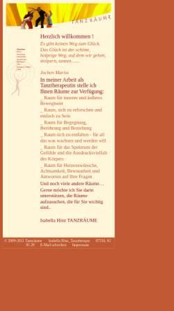 Vorschau der mobilen Webseite www.tanz-raeume.de, Tanztherapie Tanz-Räume Isabella Hinz