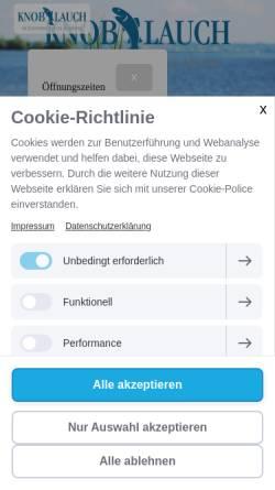 Vorschau der mobilen Webseite www.knoblauch-bodensee.de, Gästehaus zum Anker, Fischerei Knoblauch