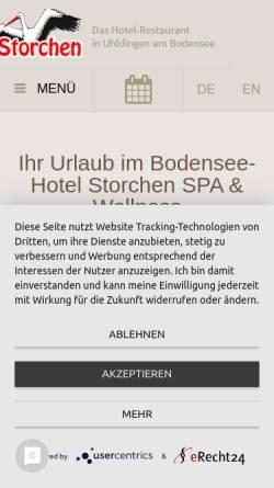 Vorschau der mobilen Webseite www.storchen-uhldingen.de, Hotel Gasthof Storchen