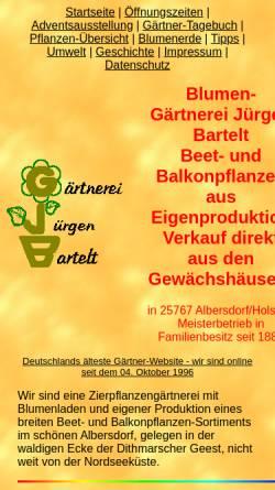 Vorschau der mobilen Webseite www.gaertnerei-bartelt.de, Gärtnerei Jürgen Bartelt