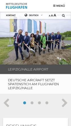 Vorschau der mobilen Webseite www.leipzig-halle-airport.de, Flughafen Leipzig - Halle GmbH