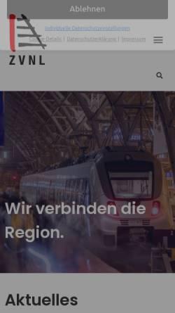 Vorschau der mobilen Webseite www.zvnl.de, Zweckverband für den Nahverkehrsraum Leipzig (ZVNL)