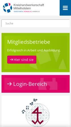 Vorschau der mobilen Webseite www.handwerk-mittelholstein.de, Steinmetzinnung Schleswig-Holstein