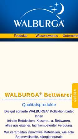 Vorschau der mobilen Webseite www.waldenburger-bettwaren.de, Waldenburger Bettwaren GmbH