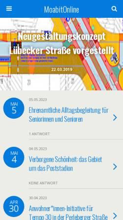 Vorschau der mobilen Webseite www.moabitonline.de, Moabit Online