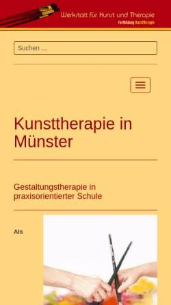 Vorschau der mobilen Webseite www.werkstattfuerkunstundtherapie.de, Werkstatt für Kunst und Therapie