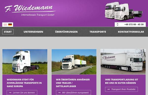 Vorschau von www.f-wiedemann.de, F. Wiedemann Internationale Transporte GmbH