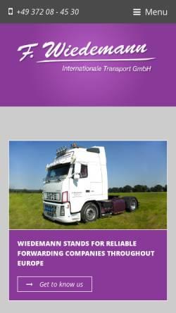 Vorschau der mobilen Webseite www.f-wiedemann.de, F. Wiedemann Internationale Transporte GmbH