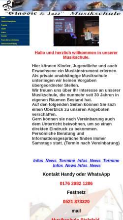 Vorschau der mobilen Webseite www.musikschule-bielefeld.de, Klassic & Jazz Musikschule