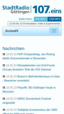 Vorschau der mobilen Webseite www.stadtradio-goettingen.de, Stadtradio Göttingen