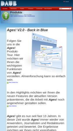 Vorschau der mobilen Webseite www.daubnet.com, Ages! - Software zur Genealogie