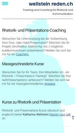 Vorschau der mobilen Webseite www.reden.ch, Wolfgang Wellstein