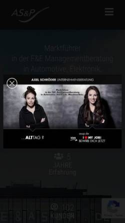Vorschau der mobilen Webseite asup.de, Axel Schröder & Partner Unternehmensberatung